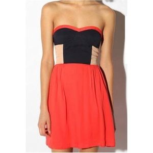 Sparkle & Fade | UO Colorblock Red Strapless Dress